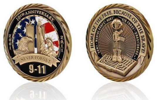 "9-11 / 10th Anniversary ""NEVER FORGET"" Challenge Coin"