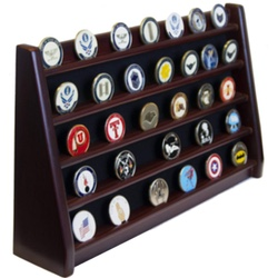 5 Rows Shelf Challenge Coin Holder Display/Poker Chip Holder Solid Wood