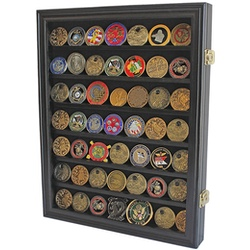 Lockable Military Challenge Coin/Poker Chip Display Case Cabinet Rack, Real Glass Door